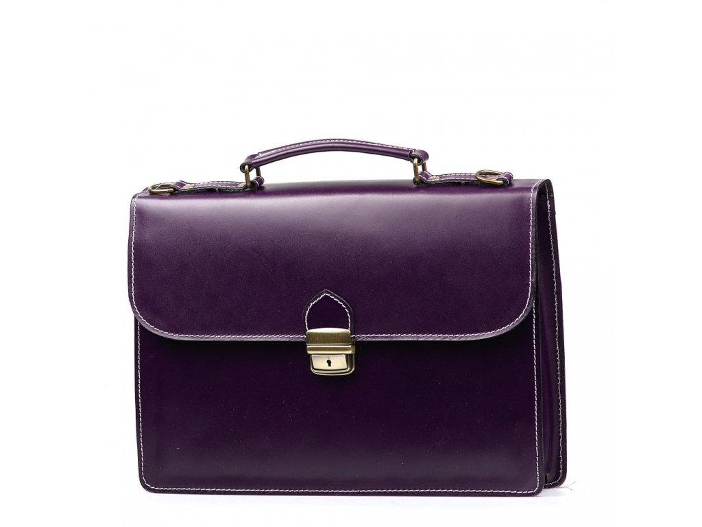 Kožená pracovní taška Nica fialová