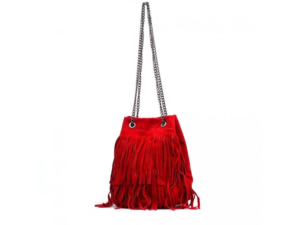 Kožená kabelka Naima červená