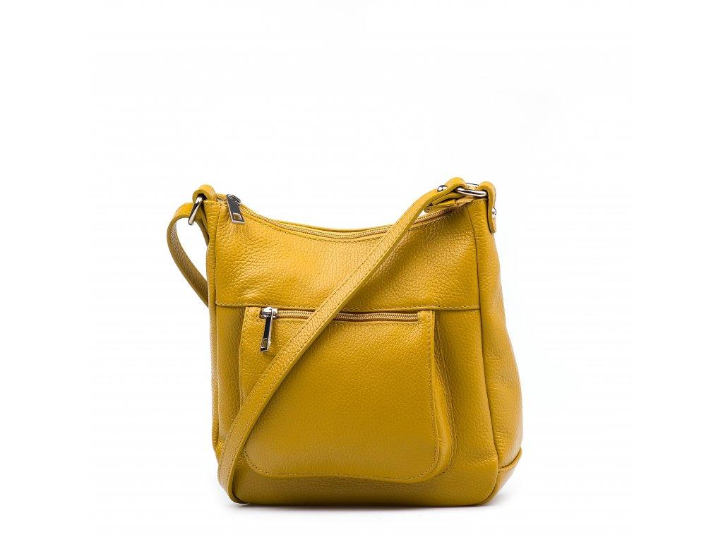 Kožená crossbody kabelka Creta hořčicově žlutá