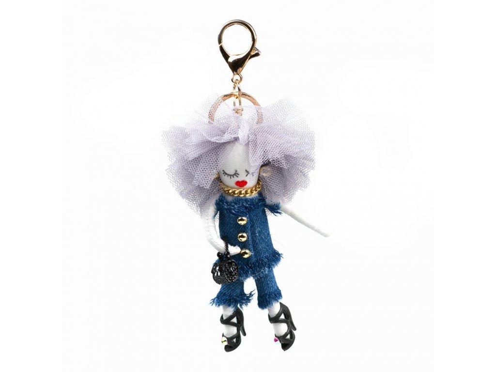 Přívěsek s motivem panenky modrý