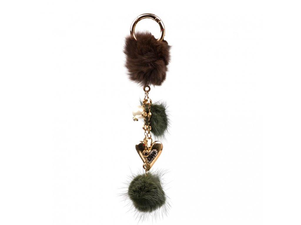 Kožešinový přívěsek na kabelku s perlou hnědo - zelený