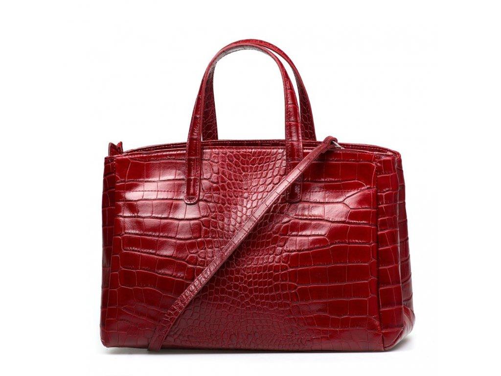 Kožená kabelka Natalia vínově červená