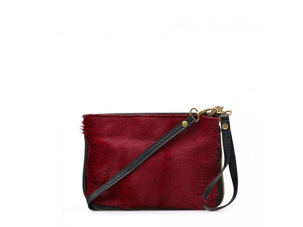 Kožená kabelka Numa s kožešinou vínově červená
