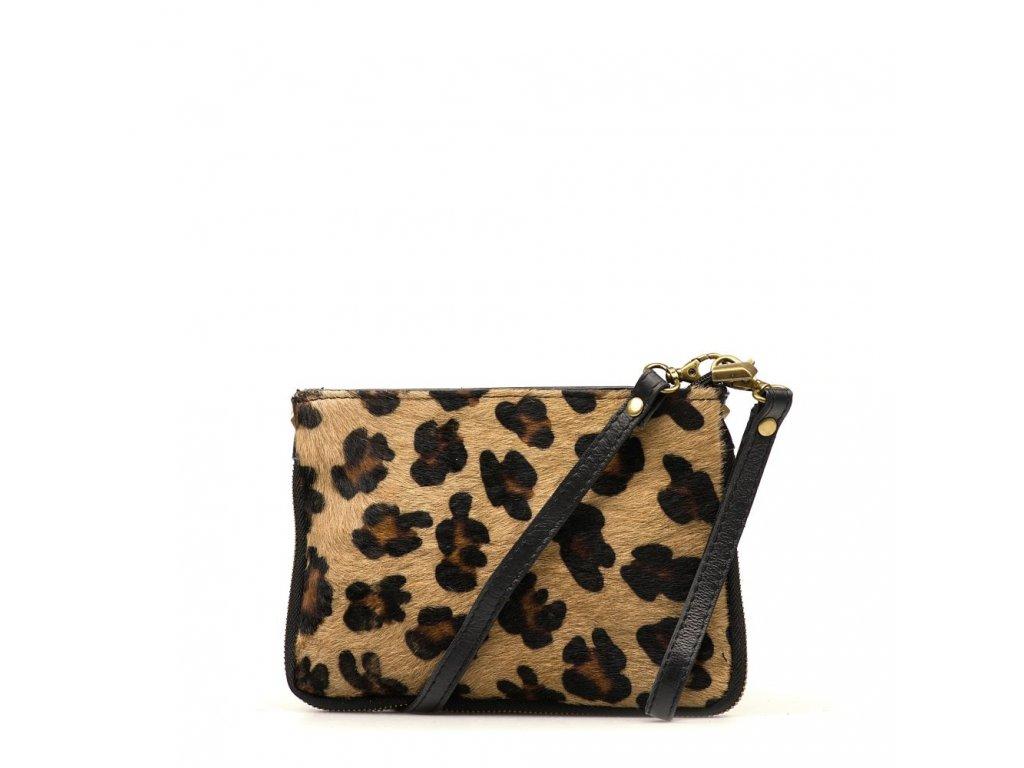 Kožená kabelka Numa s kožešinou hnědo - černá