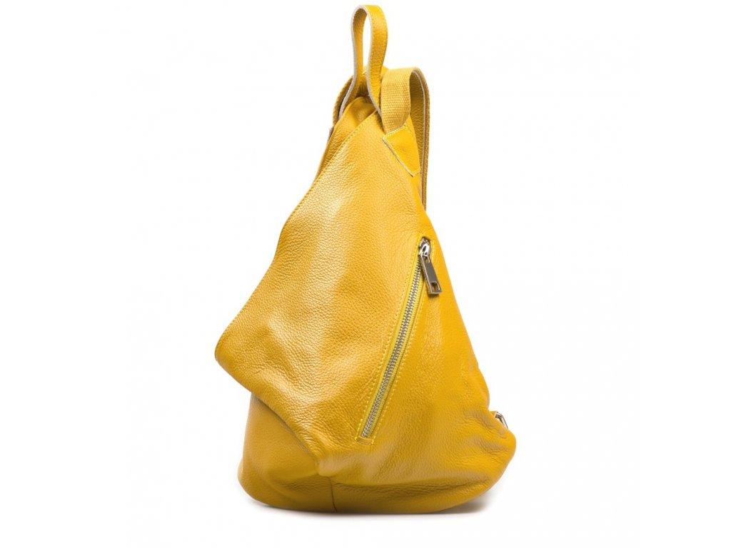 Kožený batůžek Dania hořčicově žlutý