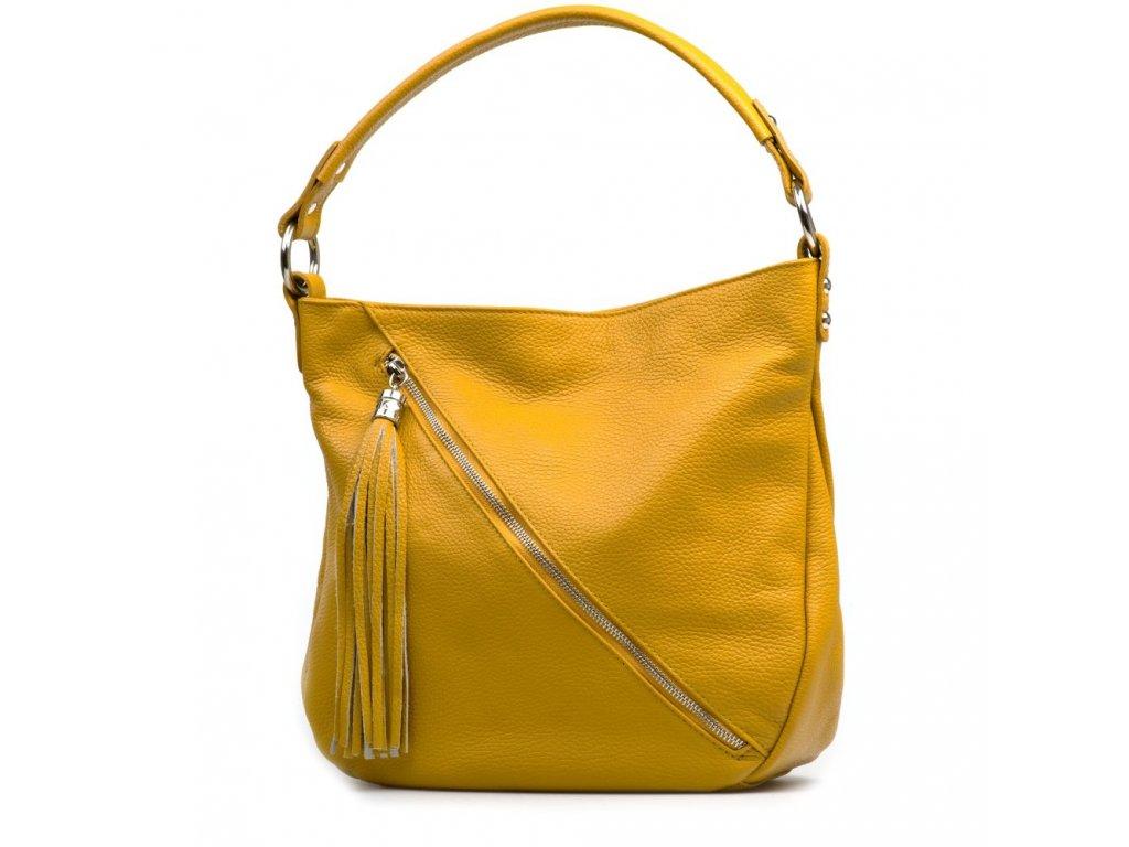 Kožená kabelka Briaga hořčicově žlutá