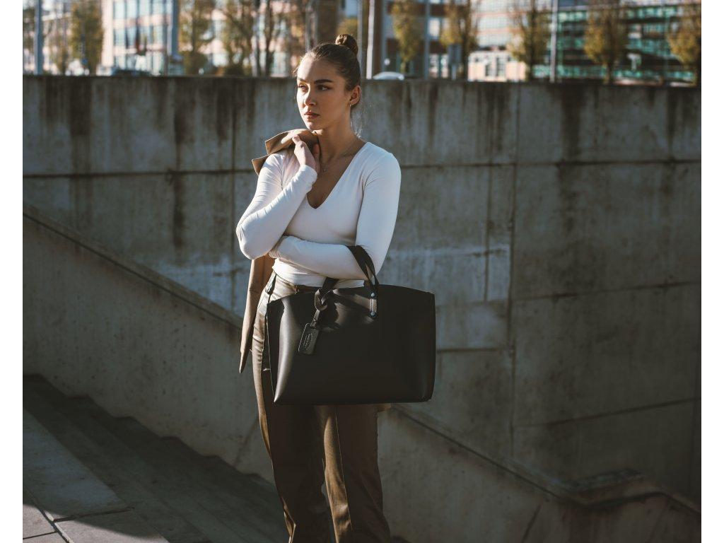 Kožená kabelka Alissa černá