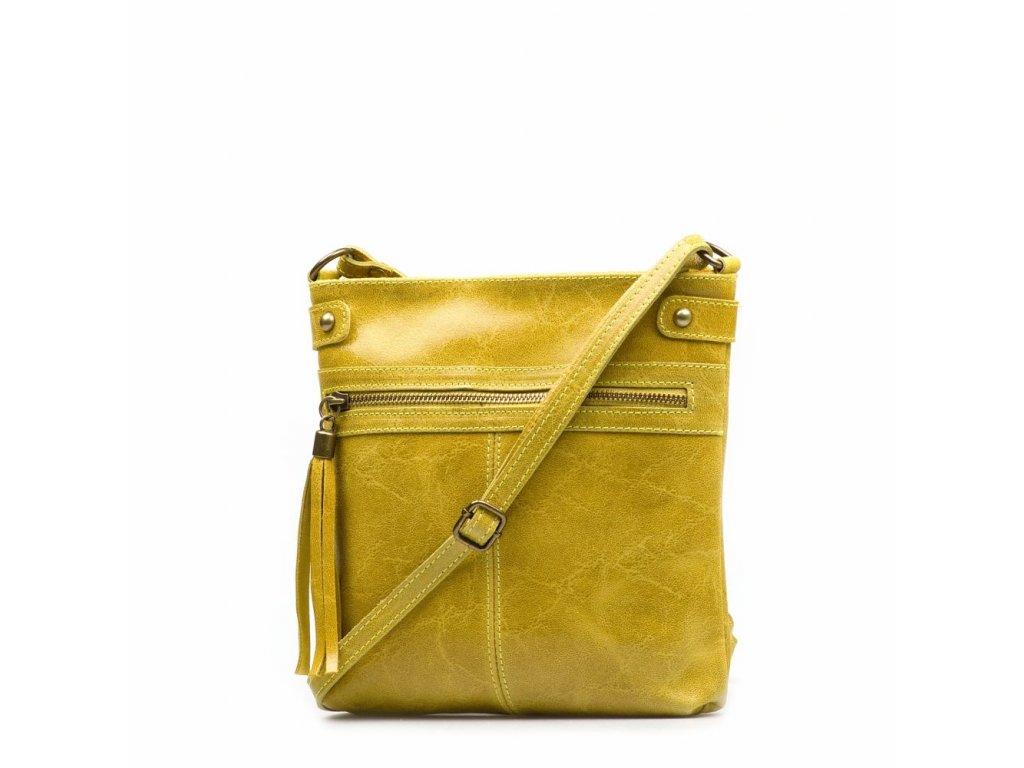 Kožená crossbody kabelka Calvina žlutá