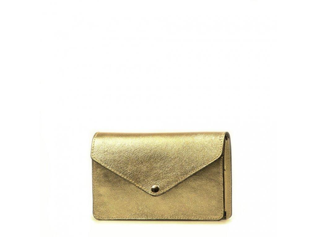 Kožená kabelka - ledvinka Caella zlatá