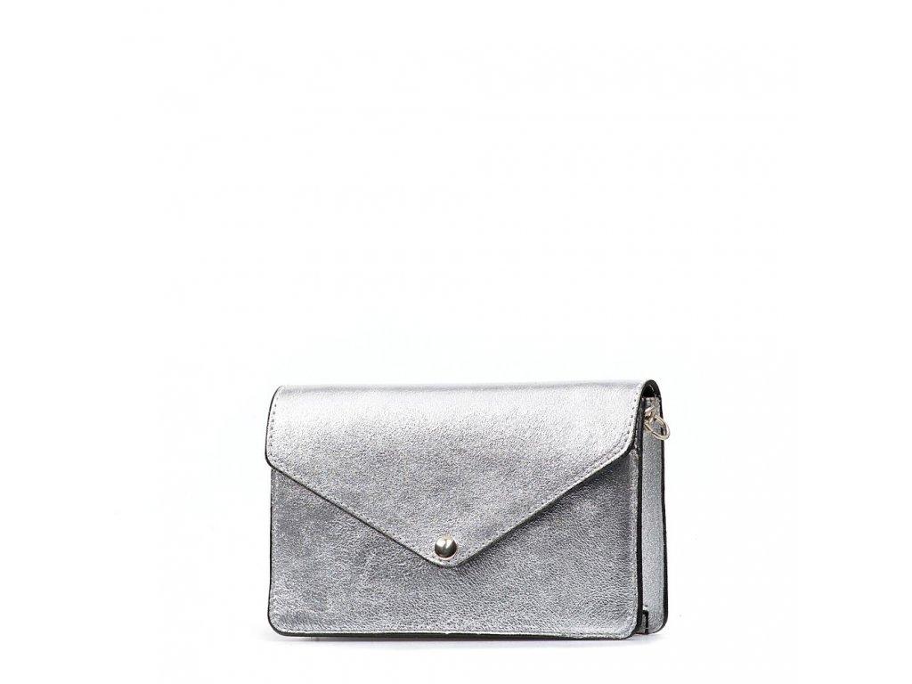 Kožená kabelka - ledvinka Caella stříbrná