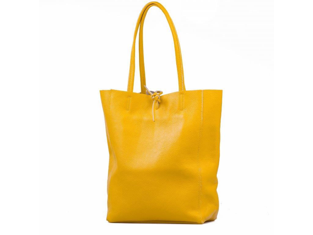 Kožená shopper kabelka Solange žlutá