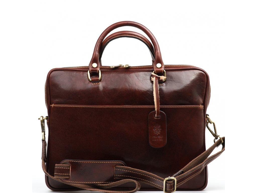 Kožená pracovní taška Onda hnědá