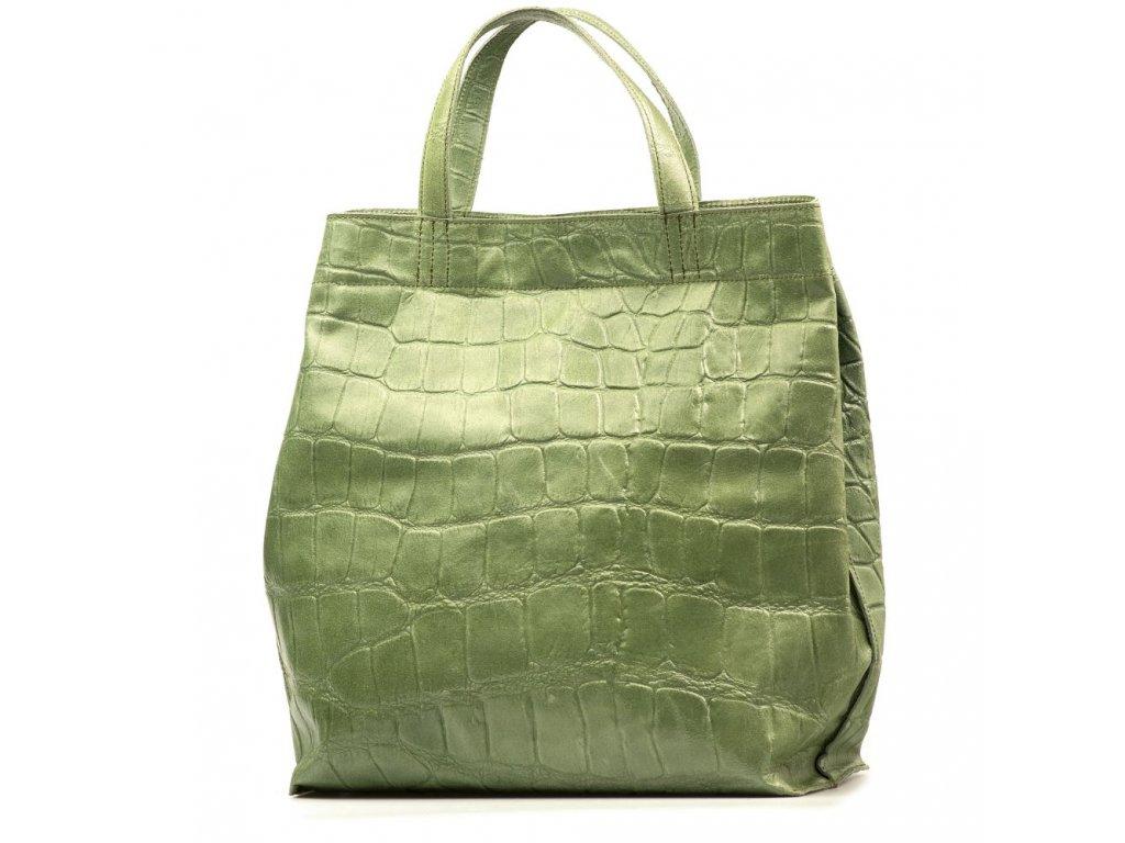 Kožená shopper kabelka Rosan zelená