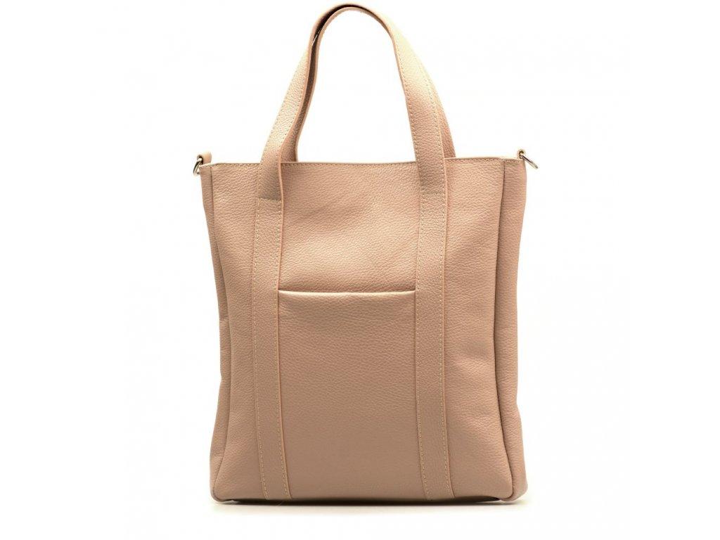 Kožená shopper kabelka Elaide pudrově růžová