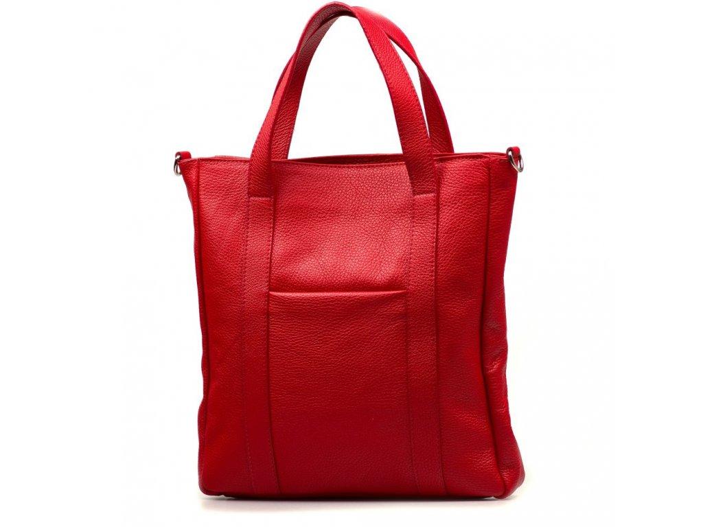 Kožená shopper kabelka Elaide červená