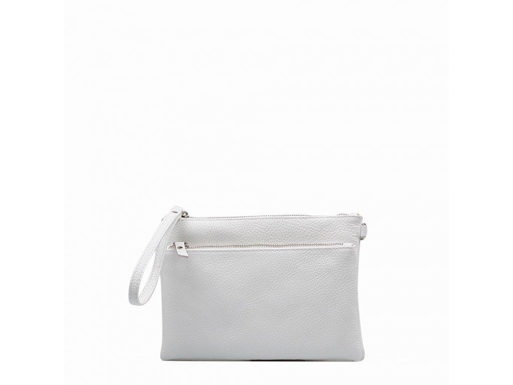 Kožená crossbody kabelka - psaníčko Claudia bílá