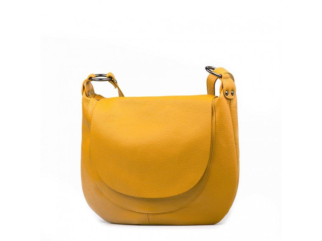 Kožená crossbody kabelka Alcina hořčicově žlutá