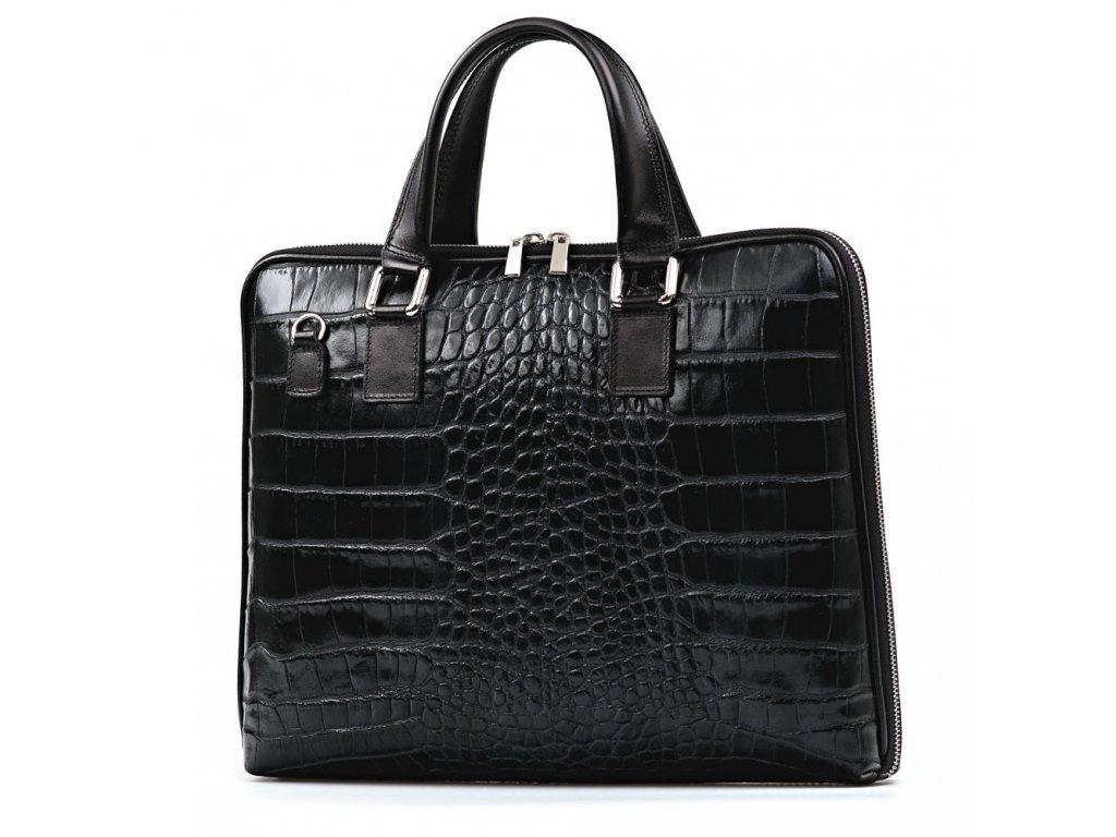 Kožená taška na notebook Molly černá