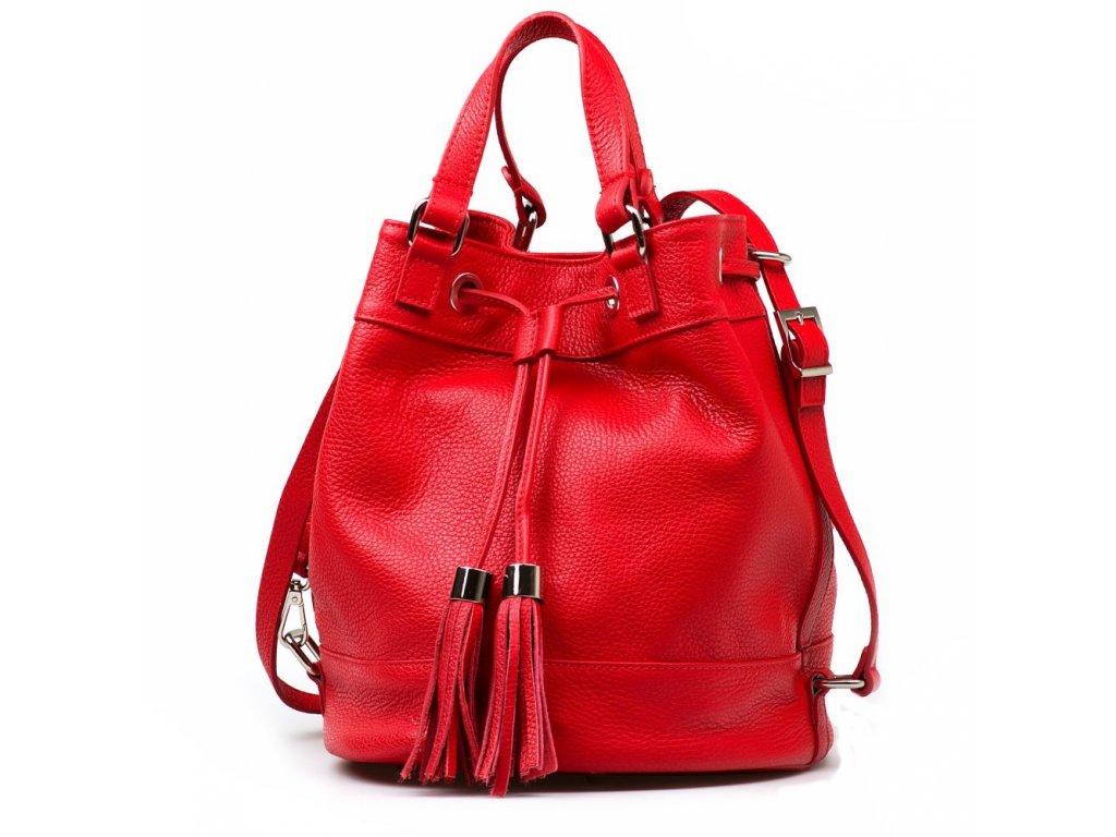 Kožená kabelka Cilly červená