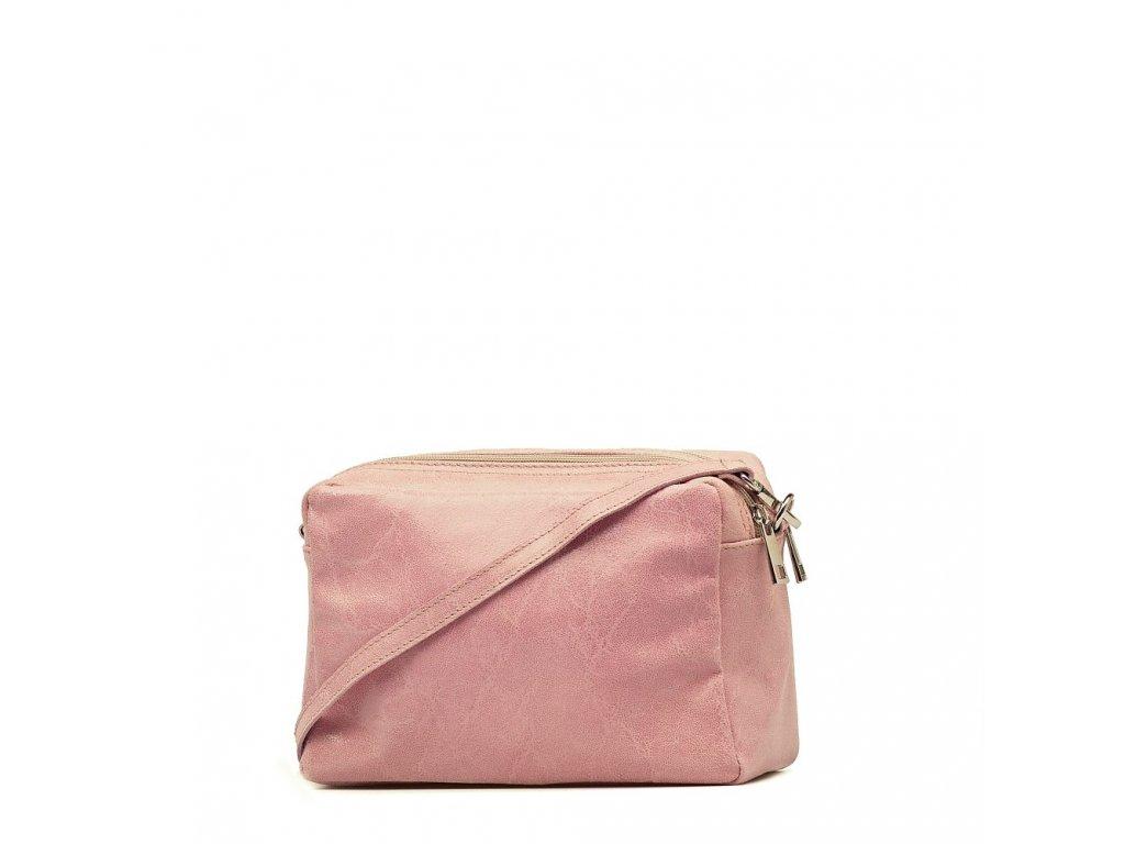 Kožená crossbody kabelka Britta růžová