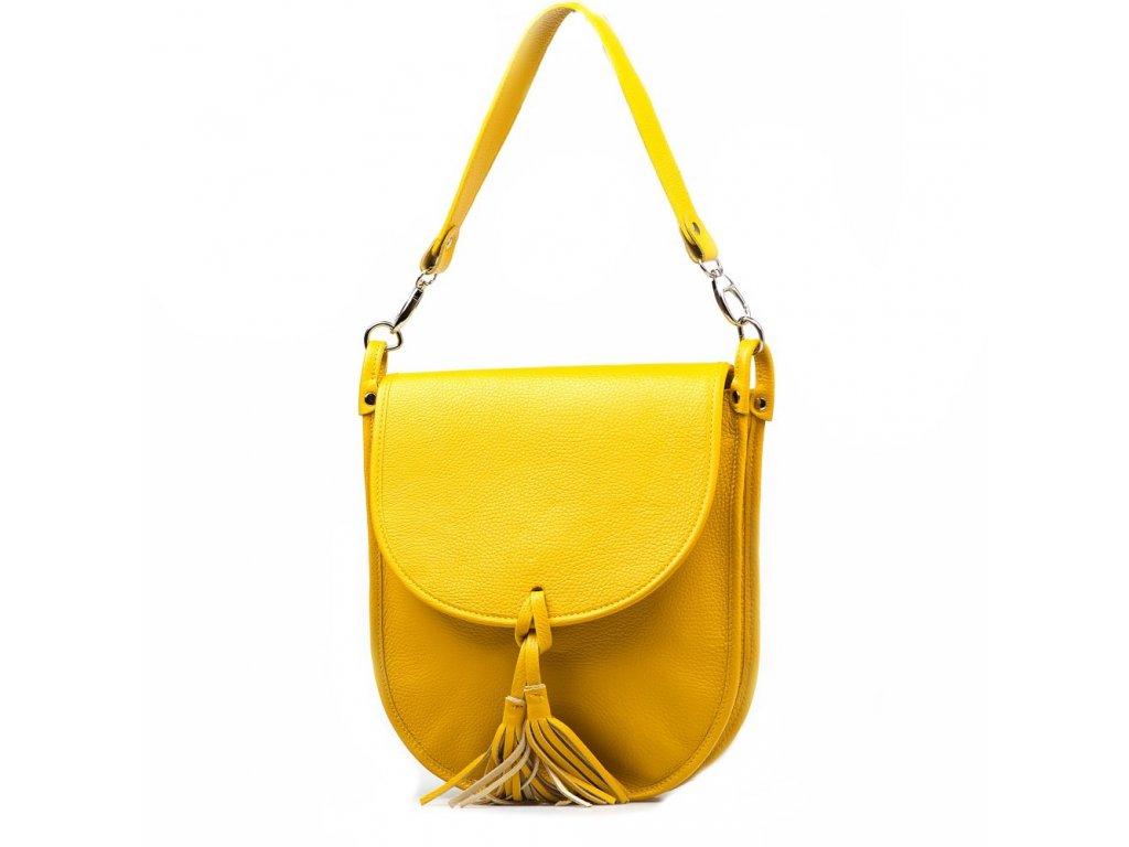 Kožená crossbody kabelka Elsbe žlutá
