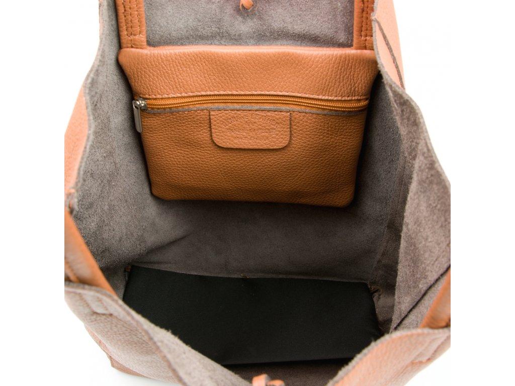 Kožená shopper kabelka Solange koňakově hnědá