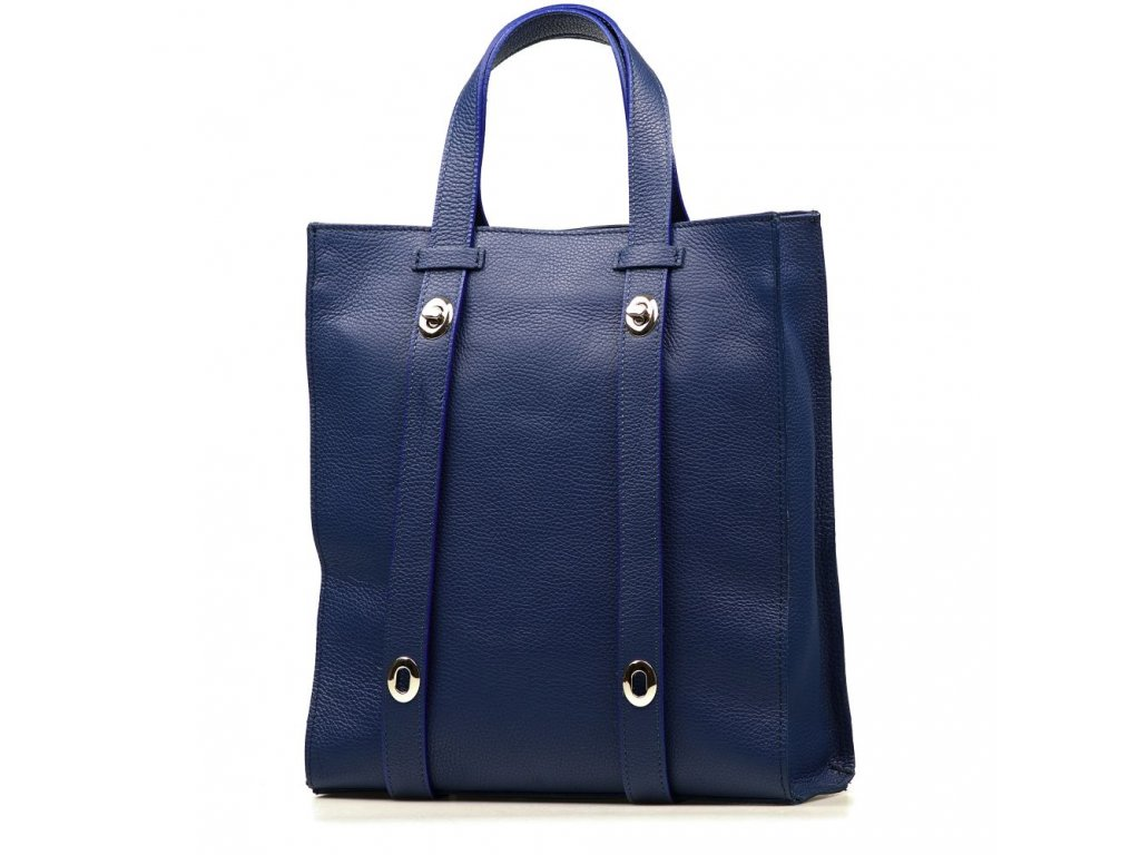 Kožená shopper kabelka Bonella modrá