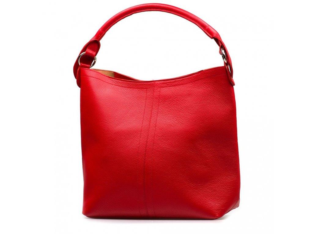 Kožená shopper kabelka Casilda červená