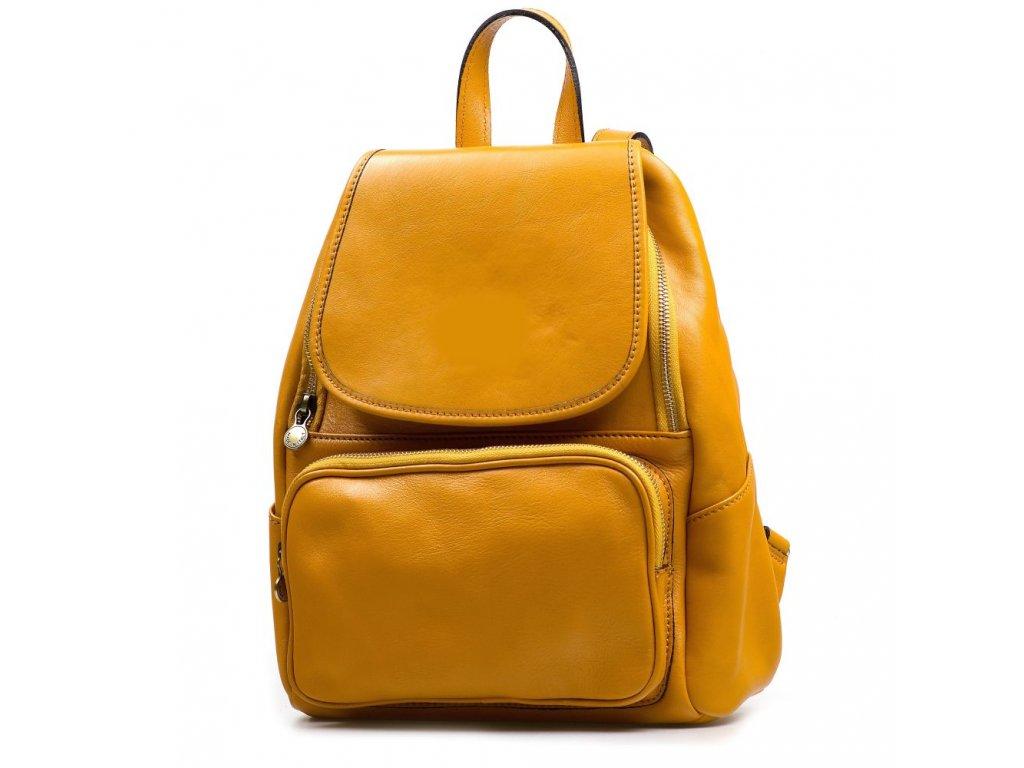 Kožený batůžek Zeffy žlutý
