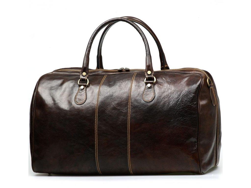 Kožená cestovní taška Josslyn tmavě hnědá