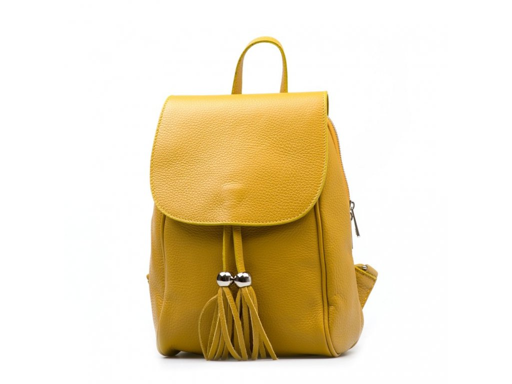Kožený batůžek Petty hořčicově žlutý