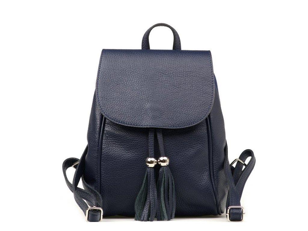 Kožený batůžek Petty tmavě modrý