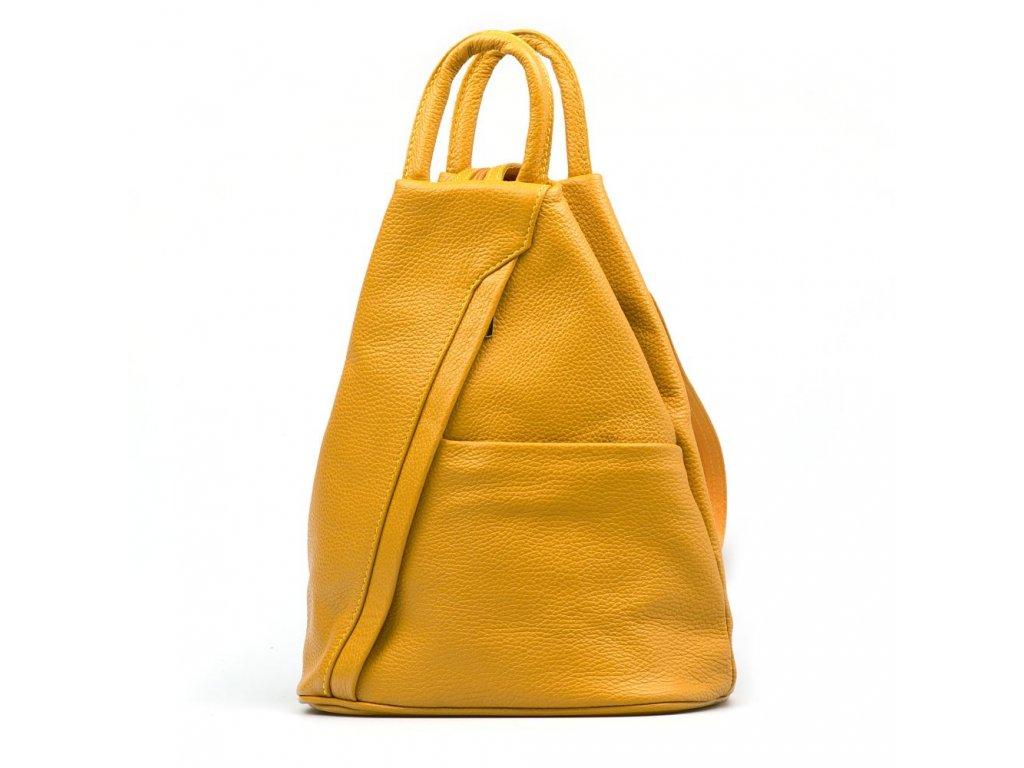 Kožený batůžek Sammy hořčicově žlutý