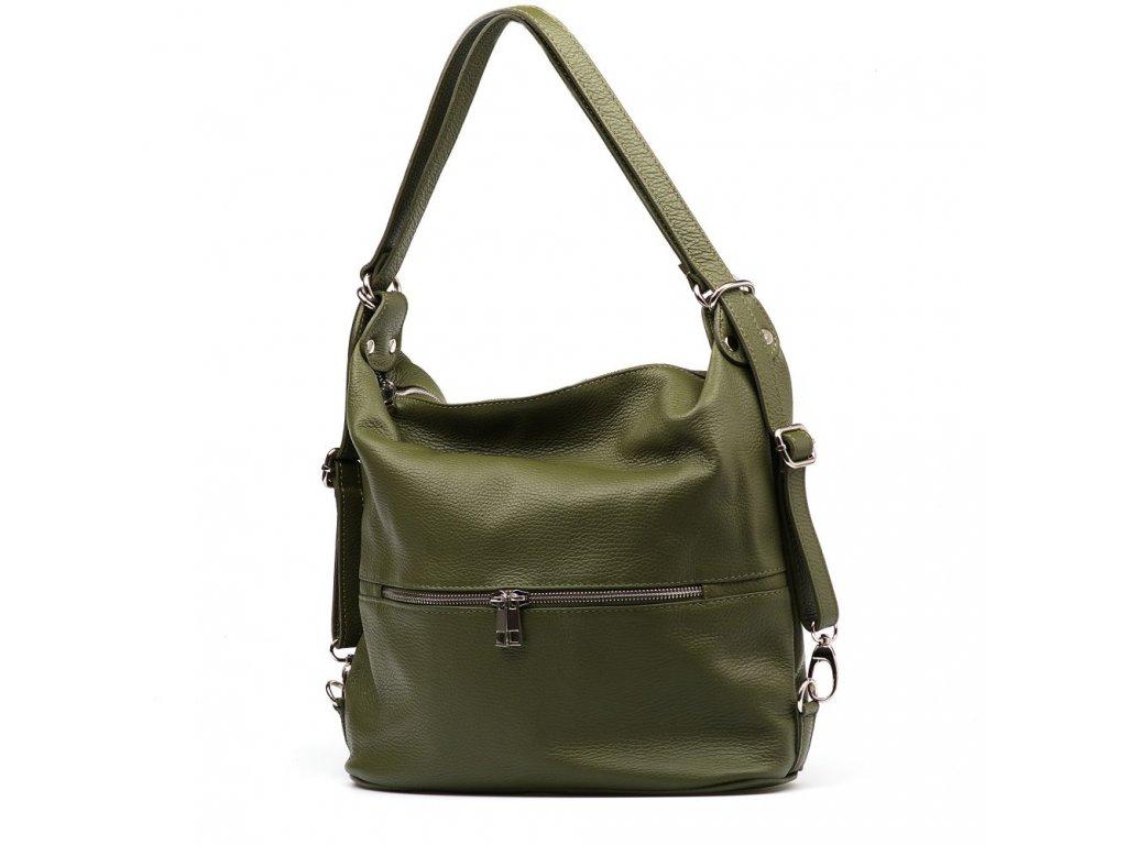 Kožená kabelka - batůžek Ivora zelená