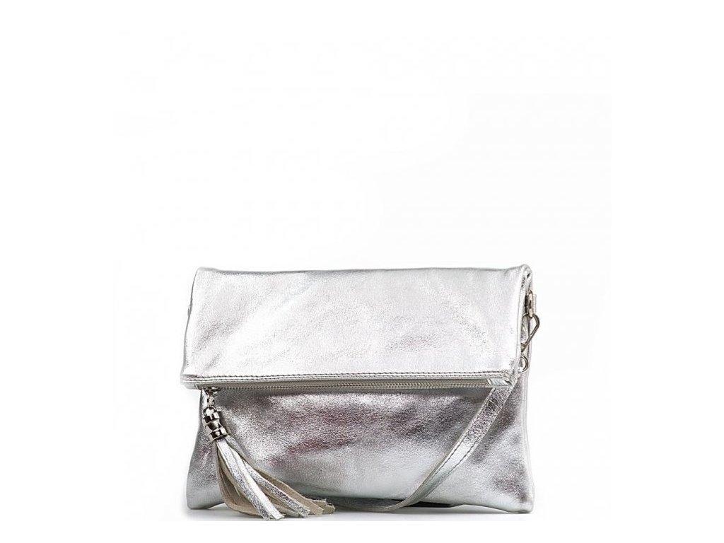 Kožená crossbody kabelka Maura stříbrná