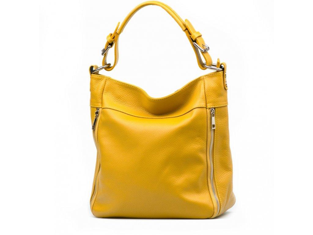 Kožená kabelka Funny hořčicově žlutá