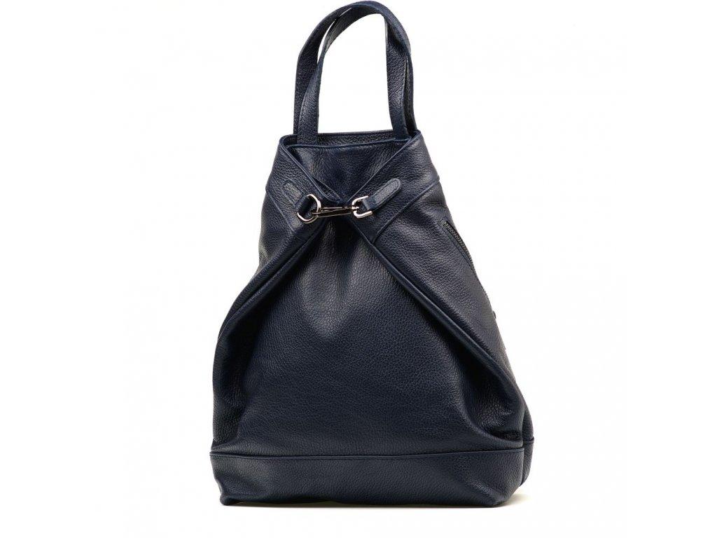 Kožený batůžek - kabelka Erin tmavě modrý