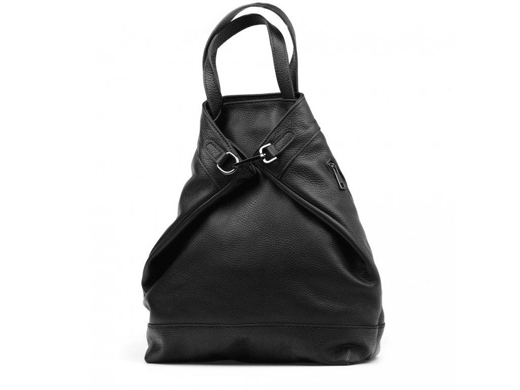 Kožený batůžek - kabelka Erin černý