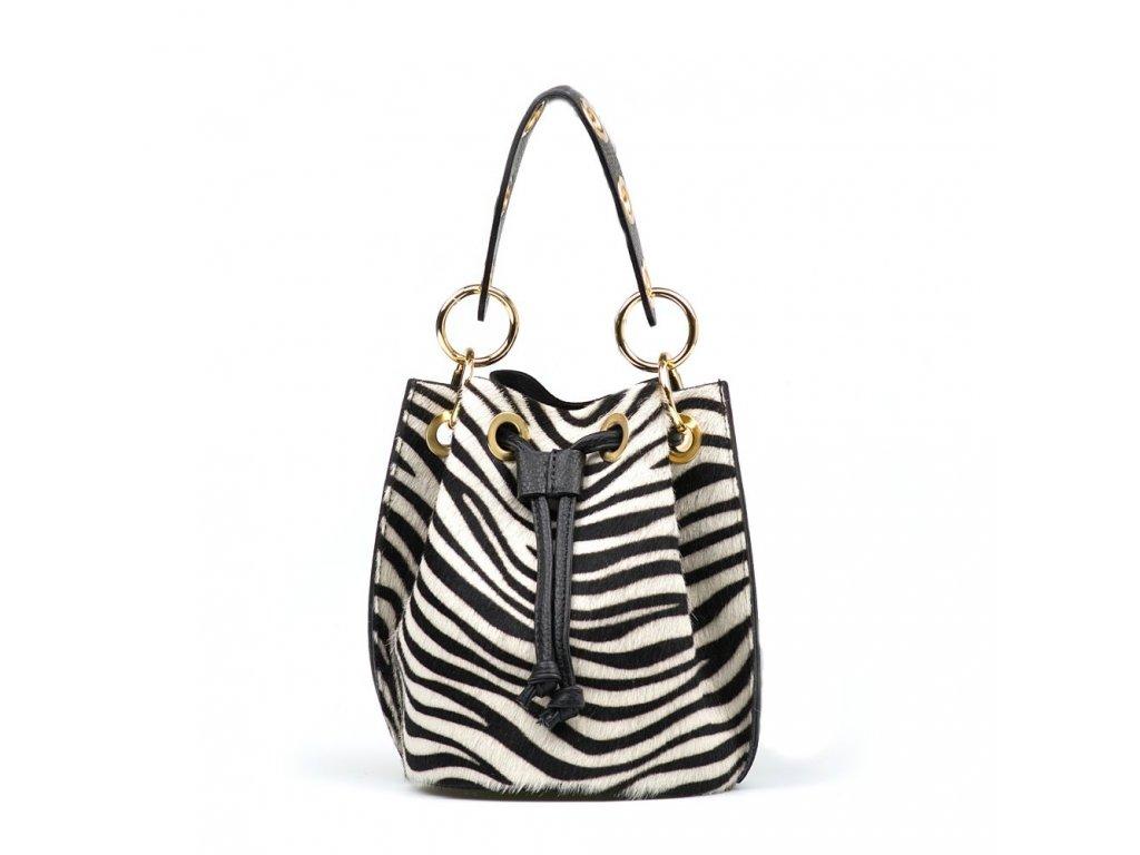 Kožená kabelka s kožešinou Conny černo bílá