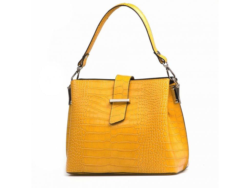Kožená kabelka Miriam hořčicově žlutá