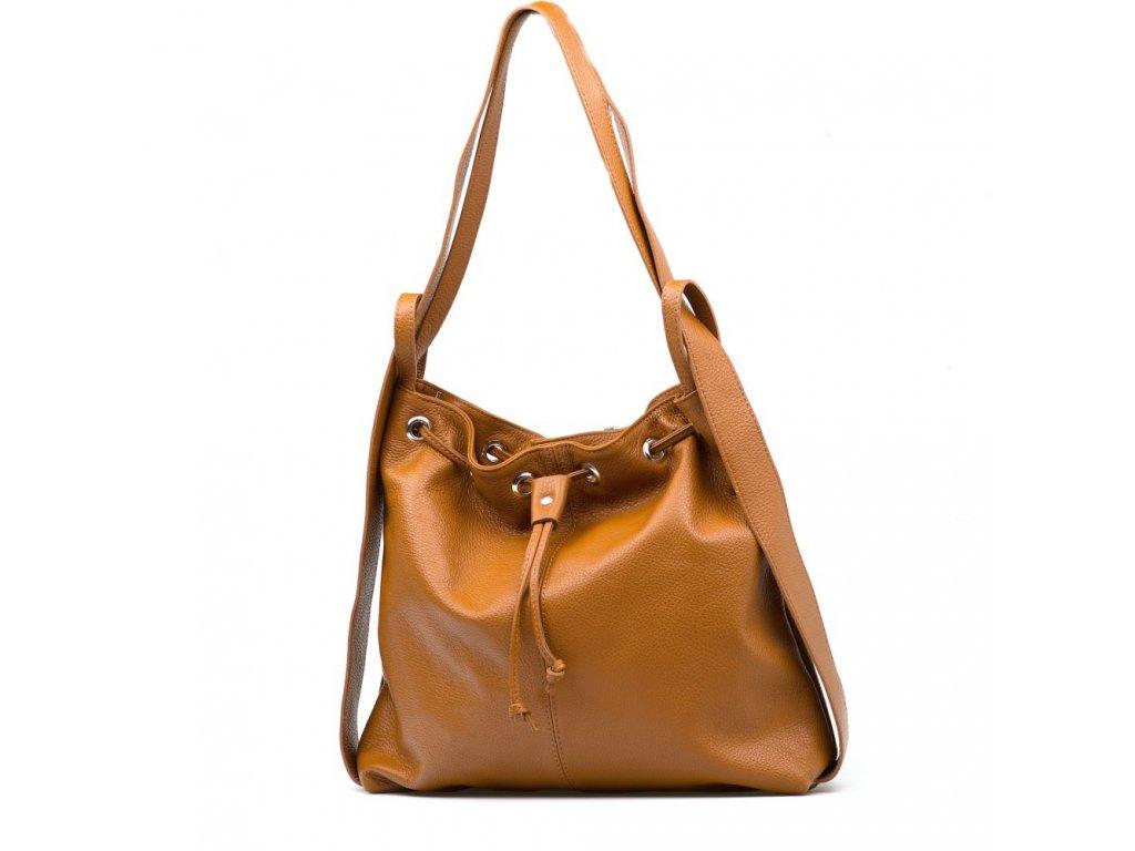 Kožená kabelka - batůžek Saba koňakově hnědá
