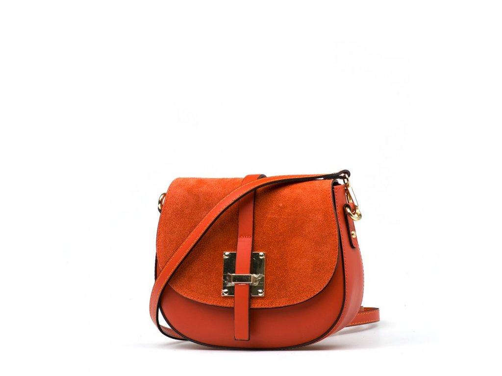 Kožená crossbody kabelka Annis oranžová