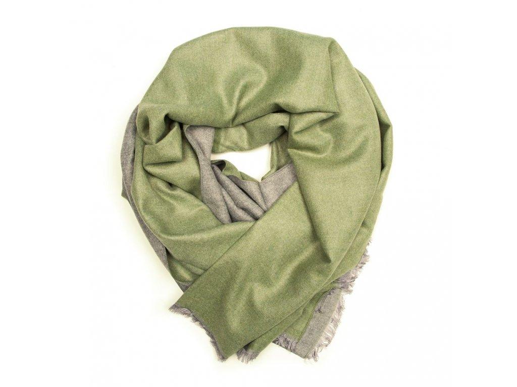 Dámská oboustranná šála Ella zeleno-šedá