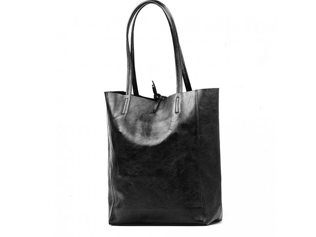 Kožená shopper kabelka Solange černá lesklá
