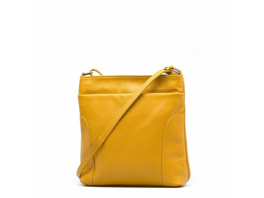 Kožená crossbody kabelka Zora hořčicově žlutá
