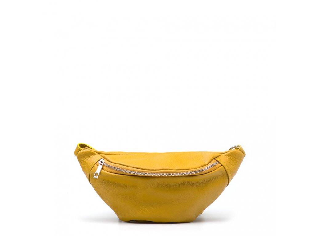 Kožená ledvinka Eden hořčicově žlutá