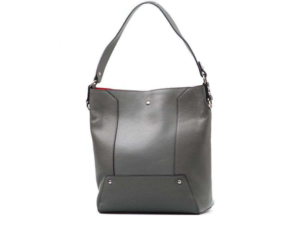 Kožená kabelka Calista s červeným interiérem šedá