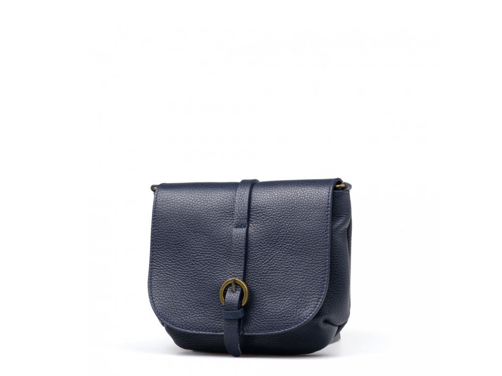 Kožená crossbody kabelka Liss tmavě modrá