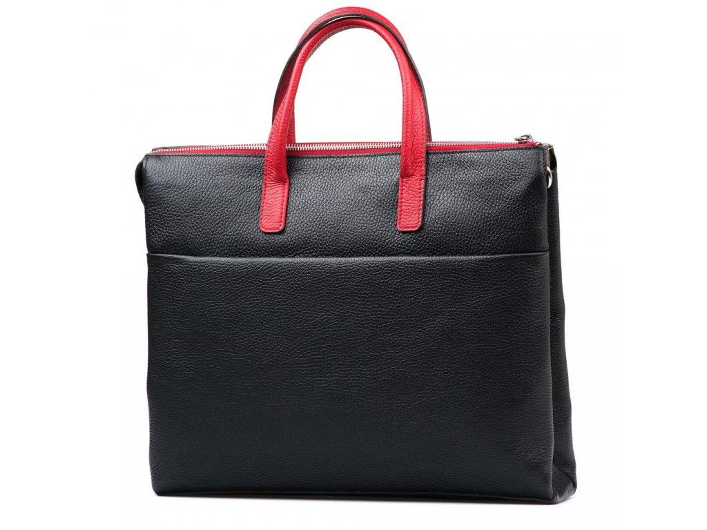 Kožená pracovní taška Nizza černo-červená