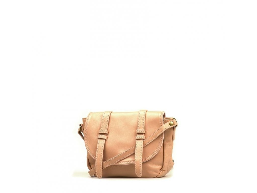 Kožená kabelka Ginnette pudrově růžová